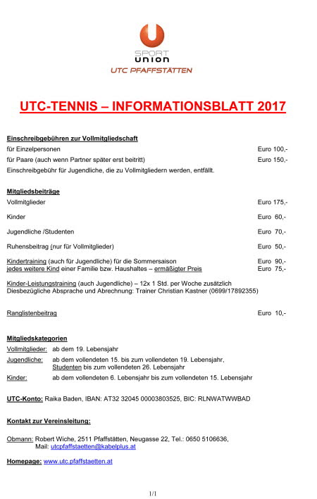 Informationsblatt UTC 2017